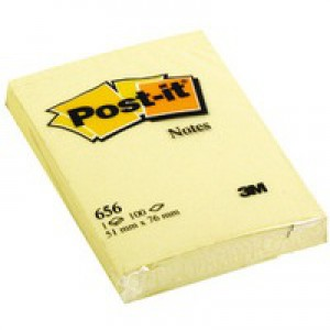 Post-it Yellow Notes 51x76mm 656Y Pk12