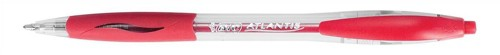 Bic Atlantis Ball Pen Retractable Cushioned Grip 1.0mm Tip 0.4mm Line Red Ref 887133 [Pack 12]