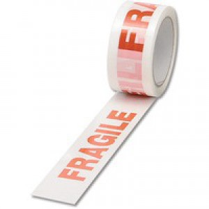 Printed Fragile White/Red 50mmx66m Tape