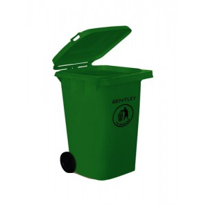 Wheelie Bin High Density Polythene with Rear Wheels 240 Litre Green