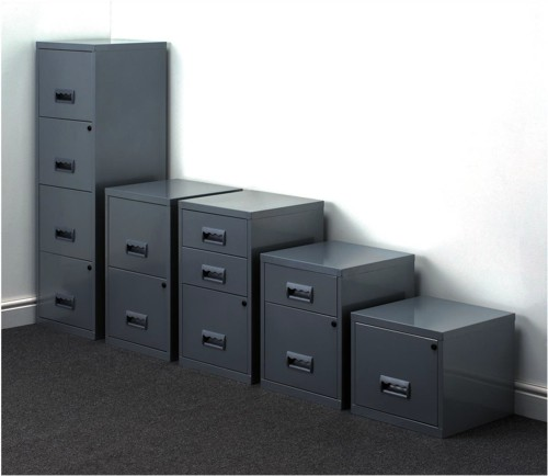 Pierre Henry Filing Cabinet Steel Lockable 4 Drawers A4 Silver Ref 595044