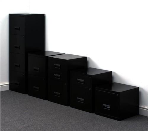 Pierre Henry Filing Cabinet Steel Lockable 4 Drawers A4 Black Ref 095057
