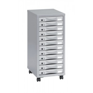 Pierre Henry Multi Drawer Storage Cabinet Steel 12 Drawers W300xD390xH710mm Silver and Grey Ref 095072