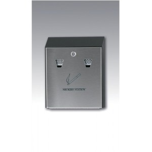 RCP Smokers Station Ash Bin Steel Wall-mounted Lockable Capacity 300 Butts W254xD76xH318mm Ref FGR1012EBK