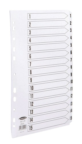 Concord Commercial Dividers Europunched 1-15 Clear Tabs A4 White Ref 09101