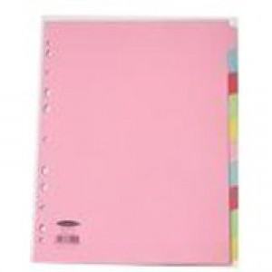 Concord Subject Dividers 160gsm 10-Part Multipack A4 Assorted Ref 72090 [Pack 5]