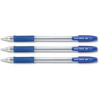 Pilot BPS GP Ball Pen Rubberised Grip Fine 0.7mm Tip 0.32mm Line Blue Ref BPGPF01 [Pack 12]