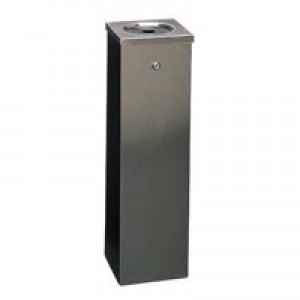 Silver Flat Top 6.6Ltr Cigarette Ash Bin