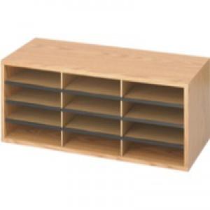 Safco Oak 12 Part Literature Organiser