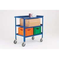 Blue Service Trolley 3-Tier 150mm Castor
