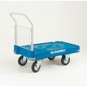 Blue Plastic Platform Truck Push Handle