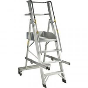 Alum 4 Tread Folding Mobile Step Ladder