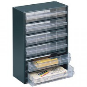 Dk.Grey Clear 6 Drawer Storage Cabinet