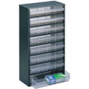 Dk.Grey Clear 8 Drawer Storage Cabinet