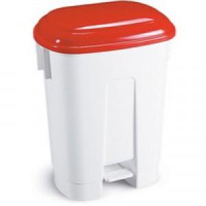 Derby 30L White/Red Pedal Bin 348021