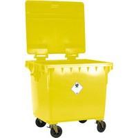 Yellow Wheeled 1100Ltr Bin/Flat Lid
