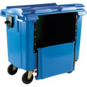 Blue Wheeled Bin 1100L Drop Down Front