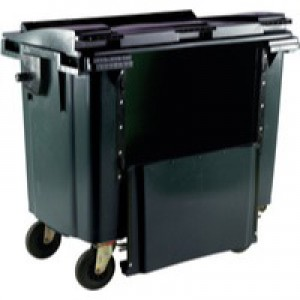Grey Wheeled Bin 1100L Drop Down Front
