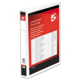 Image for 5 Star Presentation Ring Binder PVC 2 D-Ring 40mm Size A4 White Ref 36130 [Pack 10]