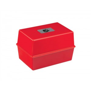 Image for Business Card Index Box Capacity 250 Cards 5x3in 127x76mm Red