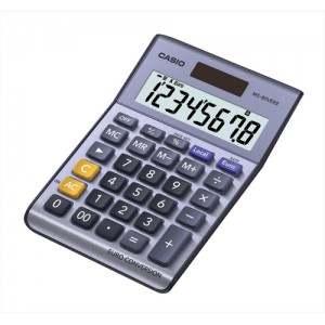 Casio Calculator Euro Desktop Battery Solar-power 8 Digit 3 Key Memory 103x137x31mm Ref MS-80VER II