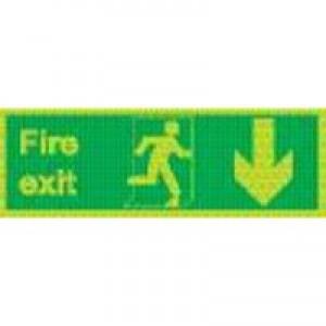 Fire Exit Man Arrow Down 150x450mm Sign