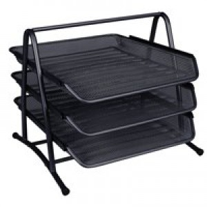 Q-Connect Black 3 Tier Letter Tray
