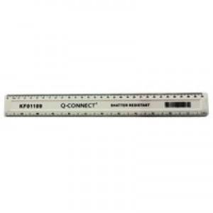Q-Connect Shatterprf 30cm Wht Ruler Pk10