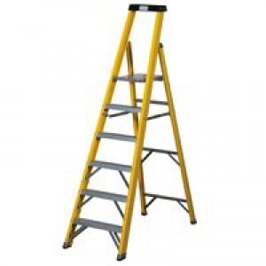 Abru Fibrglass 6 Tread Yellow Stepladder