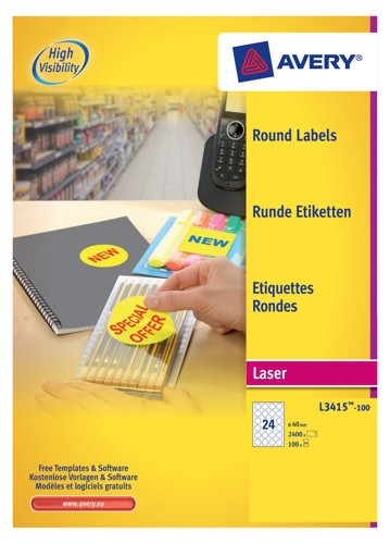 Avery Special Labels Permanent Round 24 per Sheet 40mm Diameter White Ref L3415-100 [2400 Labels]