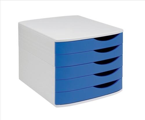 5 Star Elite Desktop Drawer Set 5 Drawers A4 and Foolscap Grey/Blue