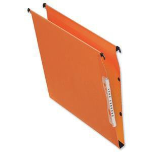 Bantex Linking Lateral File Kraft 220gsm Square-base 50mm Capacity W330mm Orange Ref 100330745 [Pack 25]