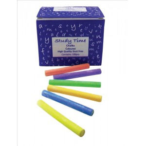Study Time Chalk Assorted Colours Pk100
