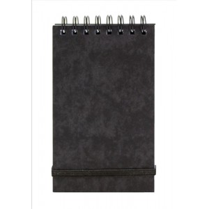 Notepad Wirebound Elasticated Ruled 90gsm 120 Pages 176x76mm Black [Pack 10]