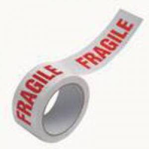 White/Red 50mm Printed Fragile Tape Pk6