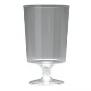 Plastic Stem Wine Glass Clear Pk25