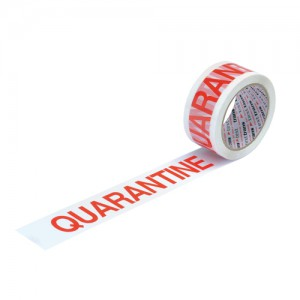 5 Star Office Printed Tape Quarantine Polypropylene 50mm x 66m Red on White [Pack 6]