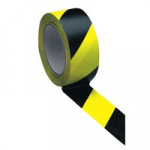 5 Star Office Hazard Tape Soft PVC Internal Use 50mmx33m Black and Yellow