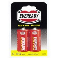 Eveready Super H/Duty Size C Battery Pk2