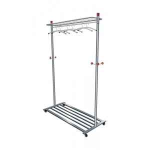 Coat and Garment Rack Mobile 4 Wheels Shelves Capacity 40-50 Hangers
