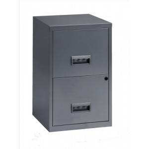 Pierre Henry Filing Cabinet Steel Lockable 2 Drawers A4 Silver Ref 595000