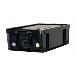 Really Useful Storage Box Plastic Recycled Robust Stackable 50 Litre W440xD710xH230mm Black Ref 50L