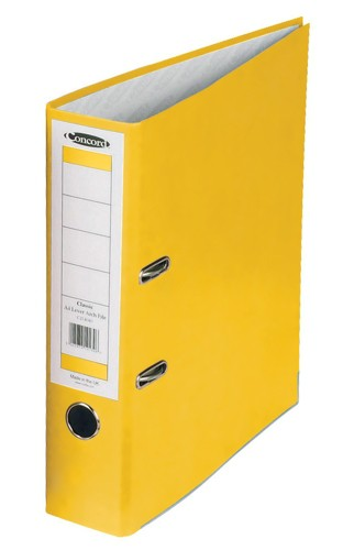 Concord Classic Lever Arch File Printed Lining Capacity 70mm A4 Yellow Ref C214043 [Pack 10]