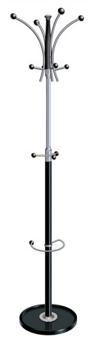 Coat Stand Classic Steel & Plastic Large Pegs Heavy Base