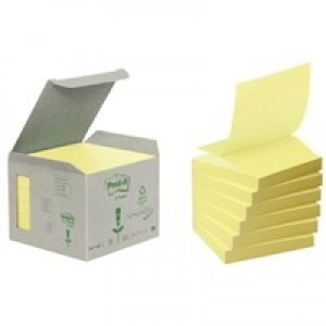 Image for 3M Post-it Recyc Znote 76x76 Canary R330 (1)