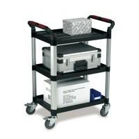 Barton 3 Shelf Plastic Trolley Silvr/Blk