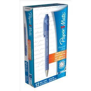 Paper Mate Flexgrip Retractable Ball Pen Fine 0.8mm Tip 0.3mm Line Blue Ref S0190303 [Pack 12]