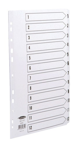Concord Commercial Index Mylar-reinforced Europunched 1-12 Clear Tabs A4 White Code 08301
