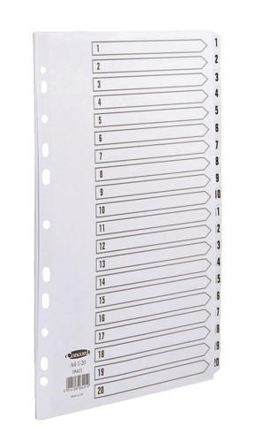 Concord Commercial Index Mylar-reinforced Europunched 1-20 Clear Tabs A4 White Ref 08401