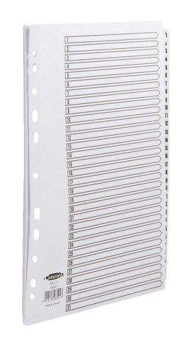 Concord Commercial Index Mylar-reinforced Europunched 1-31 Clear Tabs A4 White Code 08501
